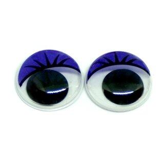 50 Wackelaugen Lila Wimpern 10mm Selbstklebend