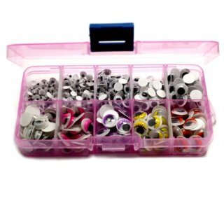 Selbstklebende Wackelaugen in Box Rosa 4-10mm