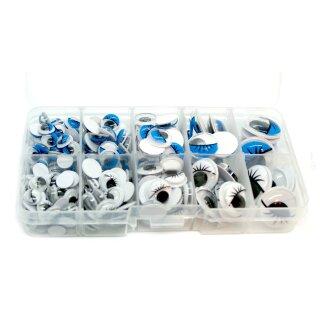 Blau-Weiße Wackelaugen Box 8- 20mm Selbstklebend