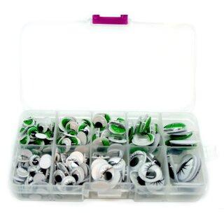 Grün-Weiße Kulleraugen-Box 8- 20mm Selbstklebende