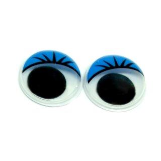 10 Wackelaugen blaue Wimpern 30mm Selbstklebend