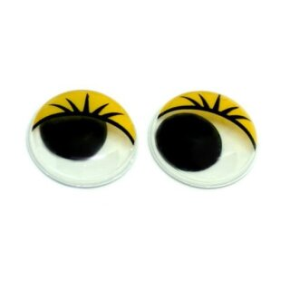 10 Wackelaugen gelbe Wimpern 30mm zum kleben