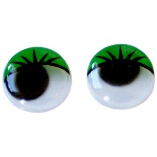 10 Wackelaugen grüne Wimpern 30mm zum Kleben