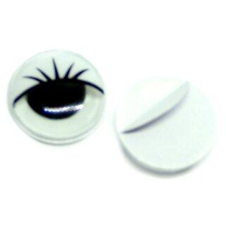 Wackelaugen weiße Wimpern 15mm Selbstklebend
