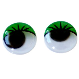 Wackelaugen grüne Wimpern 15mm Selbstklebend