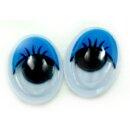 10 Wackelaugen Oval blaue Wimpern Selbstklebend
