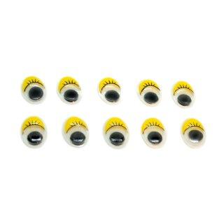 10 Wackelaugen Oval Gelbe Wimpern Selbstklebend