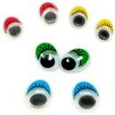 10 Wackelaugen Oval Wimpern Farbmix Selbstklebend