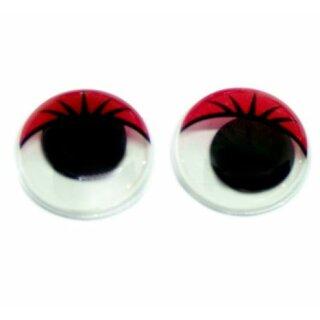 100 Wackelaugen rote Wimpern 20mm zum kleben