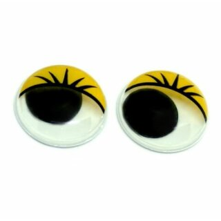50 Wackelaugen 8mm mit Wimperndruck selbstklebend Gelb