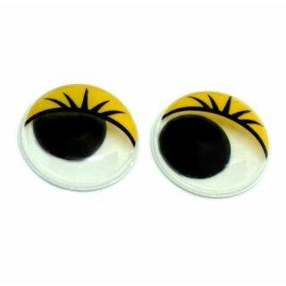 10 Wackelaugen mit Wimpern Gelb 20mm zum Kleben