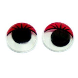 10 Wackelaugen mit Wimpern Rot 20mm zum Kleben