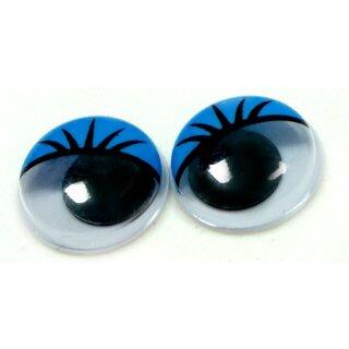 10 Wackelaugen mit Wimpern Blau 20mm zum Kleben