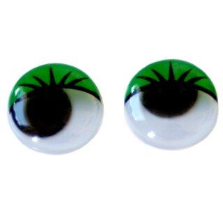 10 Wackelaugen mit Wimpern Grün 20mm zum Kleben
