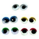 10 Wackelaugen mit Wimpern im Farbmix GRBGW 20mm zum Kleben