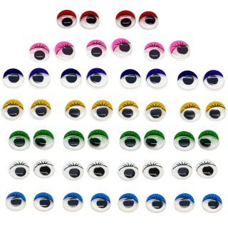 50 Selbstklebende Wackelaugen 12mm mit Wimpern Farbmix