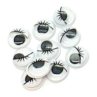 10 Selbstklebende Wackelaugen 12mm mit Wimpern Weiß