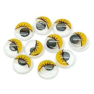 10 Selbstklebende Wackelaugen 12mm mit Wimpern Gelb