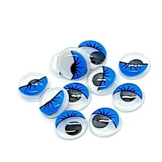 10 Selbstklebende Wackelaugen 12mm mit Wimpern Blau
