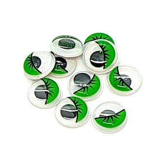 10 Selbstklebende Wackelaugen 12mm mit Wimpern Grün