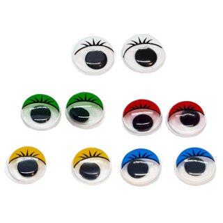 10 Selbstklebende Wackelaugen 12mm mit Wimpern Farbmix 1
